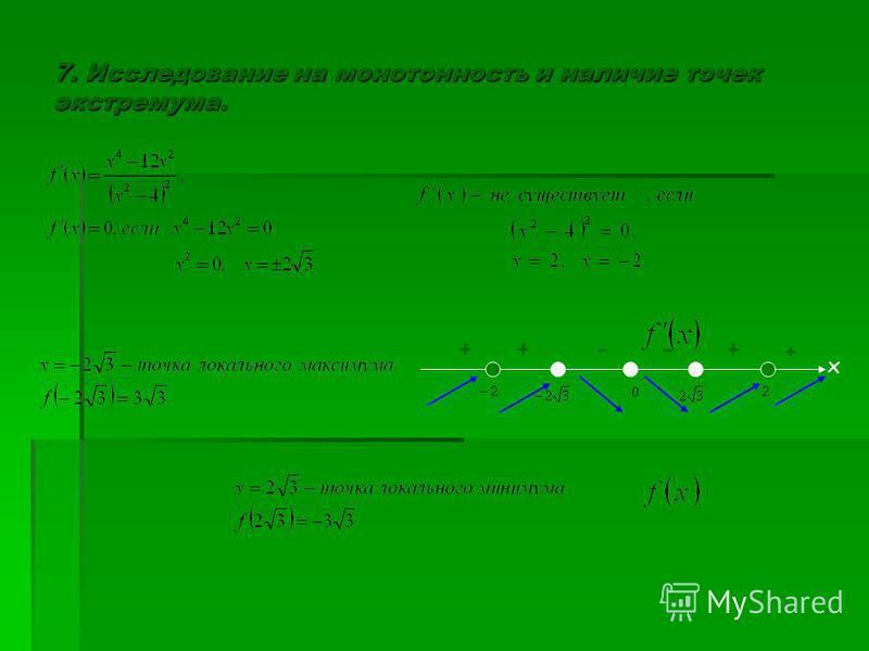 7. Исследование на монотонность и наличие точек экстремума. х + +--++