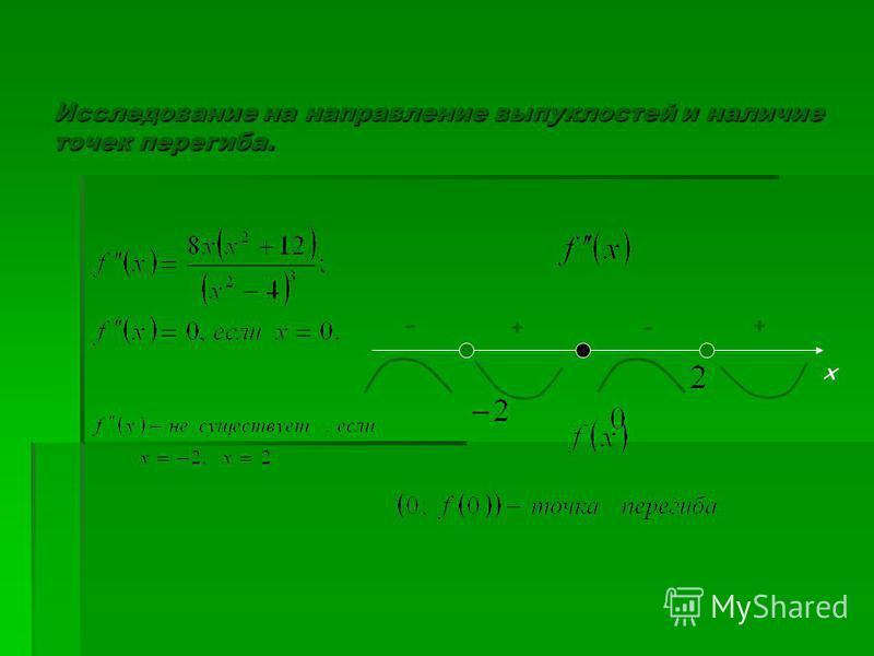 Исследование на направление выпуклостей и наличие точек перегиба. х + -+ -