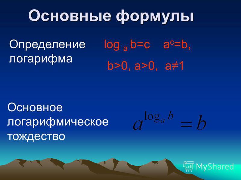 Основные формулы log a b=c a c =b, b>0, a>0, a1 Определение логарифма Основное логарифмическое тождество