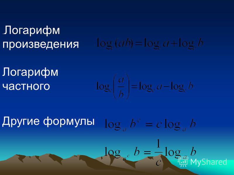 . Логарифм произведения Логарифм частного Другие формулы