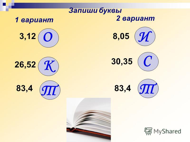 3,12 О 8,05 И К 26,52 30,35 С Запиши буквы 1 вариант 2 вариант Т 83,4 Т