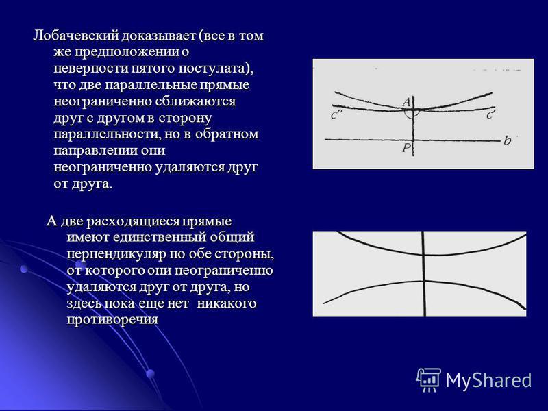 Лобачевский доказывает (все в том же предположении о неверности пятого постулата), что две параллельные прямые неограниченно сближаются друг с другом в сторону параллельности, но в обратном направлении они неограниченно удаляются друг от друга. А две