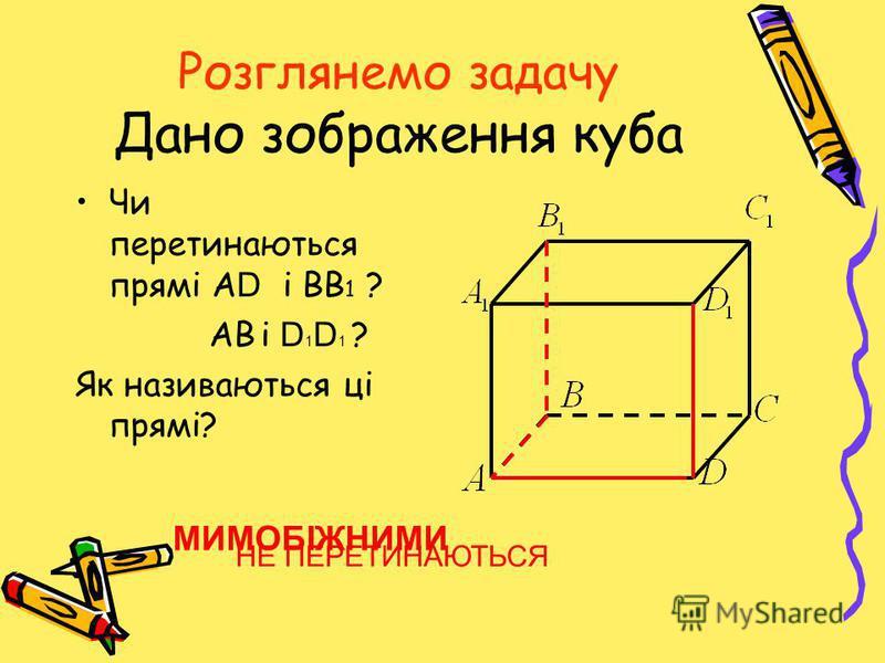 Розглянемо задачу Дано зображення куба Чи перетинаються прямі А D і ВВ 1 ? АВ і D 1 D 1 ? Як називаються ці прямі? НЕ ПЕРЕТИНАЮТЬСЯ МИМОБІЖНИМИ