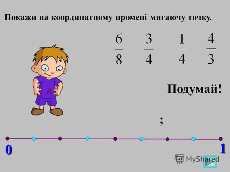 0 1 Покажи на координатному промені мигаючу точку. ; Подумай!