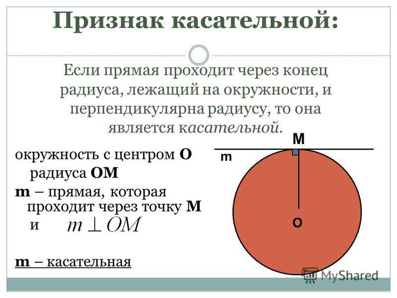 Признак касательной: Если прямая проходит через конец радиуса, лежащий на окружности, и перпендикулярна радиусу, то она является касательной. окружность с центром О радиуса OM m – прямая, которая проходит через точку М и m – касательная O M m