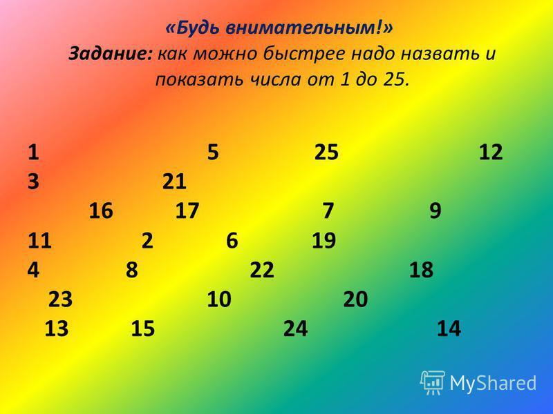 «Будь внимательным!» Задание: как можно быстрее надо назвать и показать числа от 1 до 25. 1 5 25 12 3 21 16 17 7 9 11 2 6 19 4 8 22 18 23 10 20 13 15 24 14