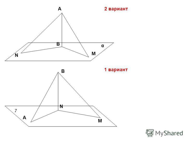 А B M N А B N M α γ 2 вариант 1 вариант