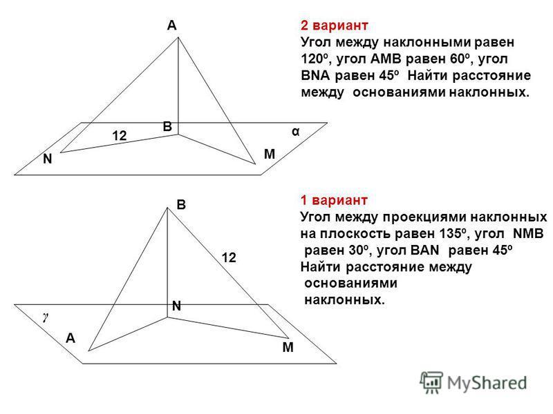 А B M N А B N M α γ 2 вариант Угол между наклонными равен 120º, угол АМВ равен 60º, угол ВNА равен 45º Найти расстояние между основаниями наклонных. 12 1 вариант Угол между проекциями наклонных на плоскость равен 135º, угол NМВ равен 30º, угол ВAN ра