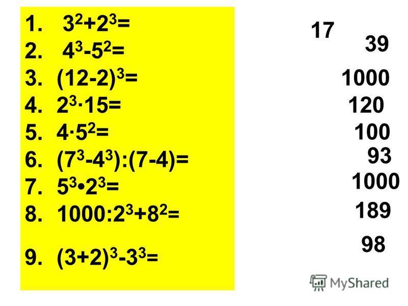 1. 3 2 +2 3 = 2. 4 3 -5 2 = 3. (12-2) 3 = 4. 2 3 ·15= 5. 4·5 2 = 6. (7 3 -4 3 ):(7-4)= 7. 5 3 2 3 = 8. 1000:2 3 +8 2 = 9. (3+2) 3 -3 3 = 17 39 1000 120 100 93 1000 189 98