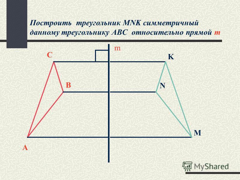 Построить треугольник MNK симметричный данному треугольнику ABС относительно прямой m m A B C K N M
