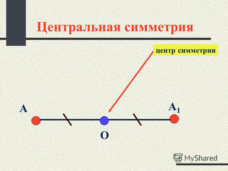 Центральная симметрия A1A1 центр симметрии A O