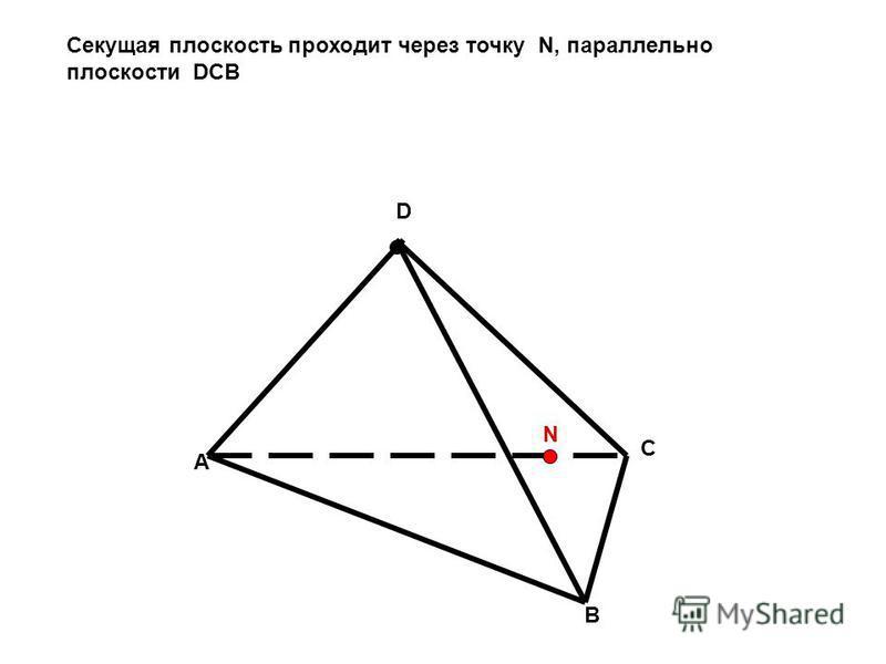 A B C D N Секущая плоскость проходит через точку N, параллельно плоскости DCB