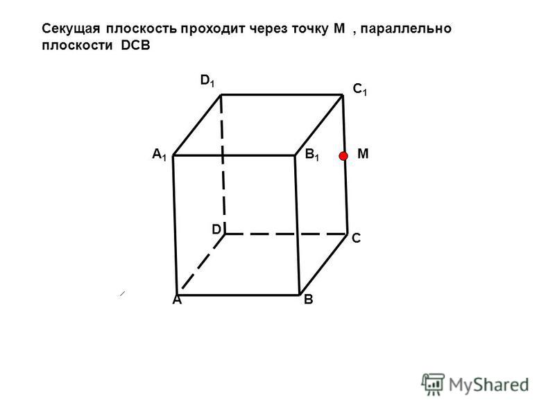 AB C D D1D1 A1A1 B1B1 C1C1 Секущая плоскость проходит через точку M, параллельно плоскости DCB M