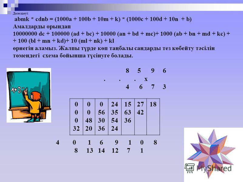 Дәлелдеуі: аbmk * cdnb = (1000a + 100b + 10m + k) * (1000c + 100d + 10n + b) Амалдарды орындап 10000000 dс + 100000 (ad + bc) + 10000 (an + bd + mc)+ 1000 (ab + bn + md + kc) + + 100 (bl + mn + kd)+ 10 (ml + nk) + kl өрнегін аламыз. Жалпы түрде көп т