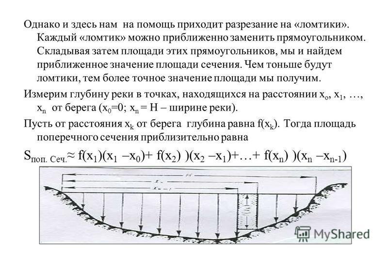 Однако и здесь нам на помощь приходит разрезание на «ломтики». Каждый «ломтик» можно приближенно заменить прямоугольником. Складывая затем площади этих прямоугольников, мы и найдем приближенное значение площади сечения. Чем тоньше будут ломтики, тем