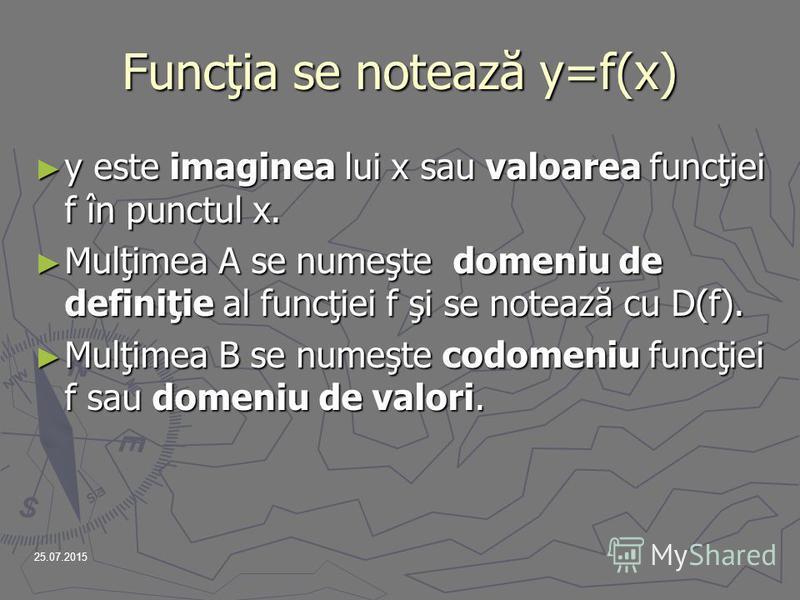 25.07.2015 Funcţia se notează y=f(x) y este imaginea lui x sau valoarea funcţiei f în punctul x. Mulţimea A se numeşte d d d domeniu de definiţie al funcţiei f şi se notează cu D(f). Mulţimea B se numeşte codomeniu funcţiei f sau domeniu de valori.