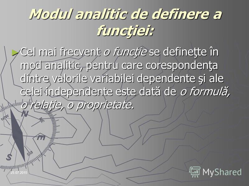 25.07.2015 Modul analitic de definere a funcţiei: Cel mai frecvent o funcţie se defineţte în mod analitic, pentru care corespondenţa dintre valorile variabilei dependente şi ale celei independente este dată de o formulă, o relaţie, o proprietate. Cel