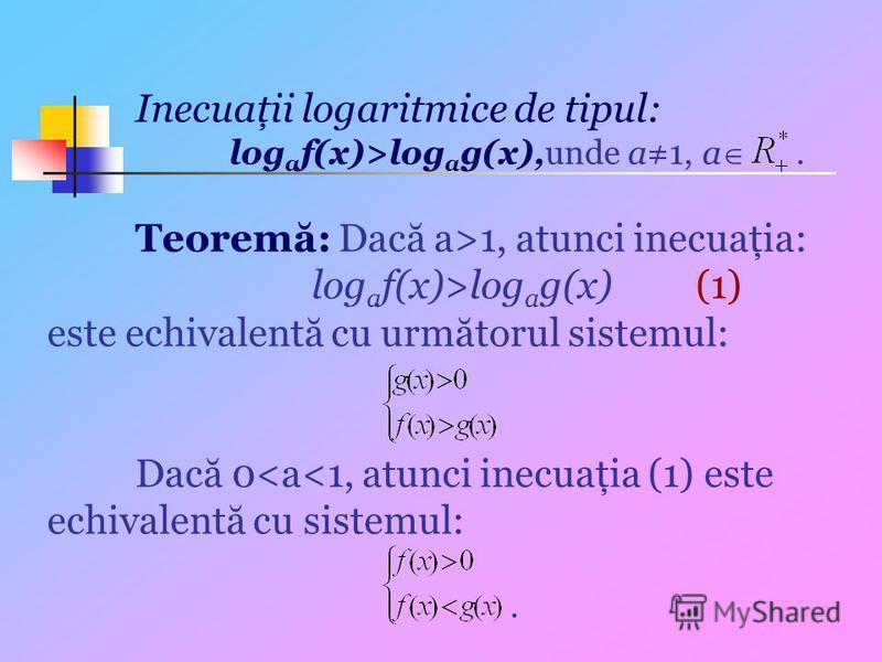 Inecuaţii logaritmice de tipul: log a f(x)>log a g(x),unde a1, a. Teoremă: Dacă a>1, atunci inecuaţia: log a f(x)>log a g(x) (1) este echivalentă cu următorul sistemul: Dacă 0<a<1, atunci inecuaţia (1) este echivalentă cu sistemul:.