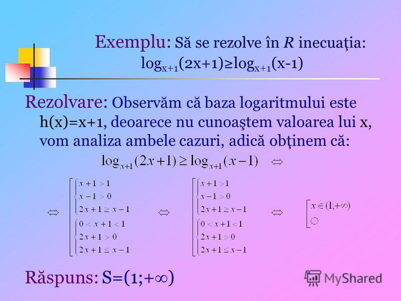 Exemplu: Să se rezolve în R inecuaţia: log x+1 (2x+1)log x+1 (x-1) Rezolvare: Observăm că baza logaritmului este h(x)=x+1, deoarece nu cunoaştem valoarea lui x, vom analiza ambele cazuri, adică obţinem că: Răspuns: S=(1;+ )