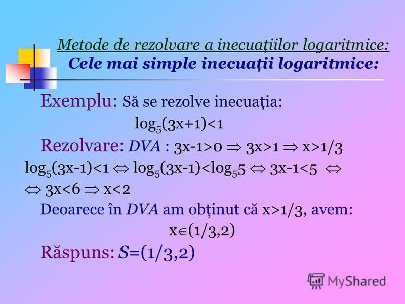 Metode de rezolvare a inecuaţiilor logaritmice: Cele mai simple inecuaţii logaritmice: Exemplu: Să se rezolve inecuaţia: log 5 (3x+1)<1 Rezolvare: DVA : 3x-1>0 3x>1 x>1/3 log 5 (3x-1)<1 log 5 (3x-1)<log 5 5 3x-1<5 3x<6 x<2 Deoarece în DVA am obţinut