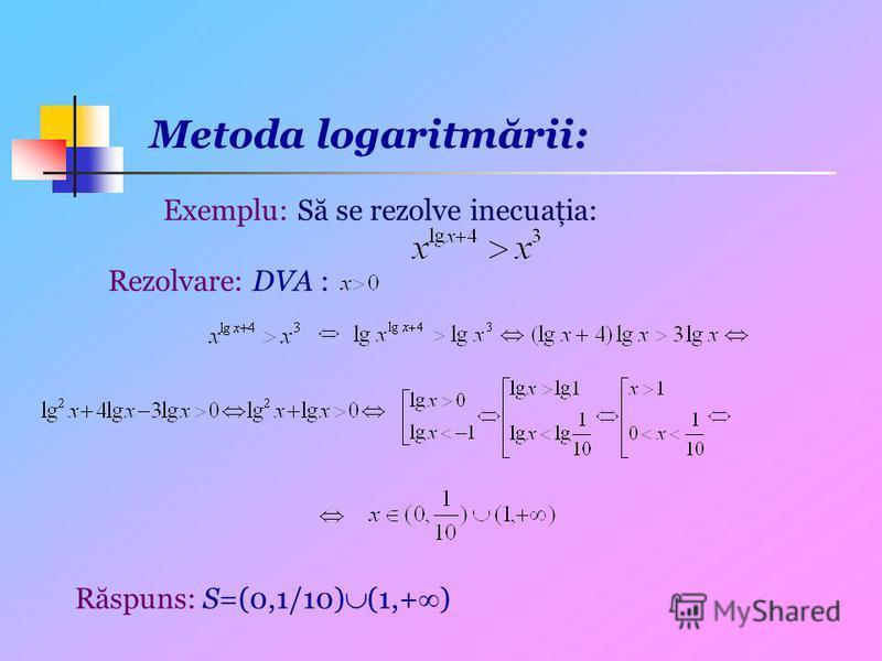 Metoda logaritmării: Exemplu: Să se rezolve inecuaţia: Rezolvare: DVA : Răspuns: S=(0,1/10) (1,+ )