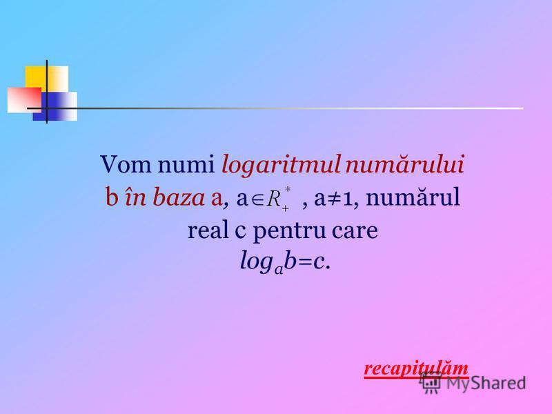 Vom numi logaritmul numărului b în baza a, a, a1, numărul real c pentru care log a b=c. recapitulăm