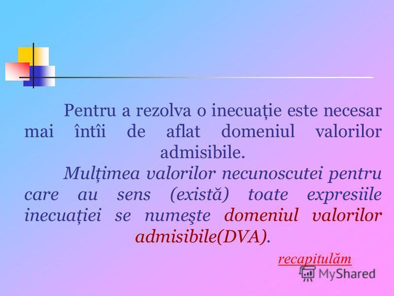 Pentru a rezolva o inecuaţie este necesar mai întîi de aflat domeniul valorilor admisibile. Mulţimea valorilor necunoscutei pentru care au sens (există) toate expresiile inecuaţiei se numeşte domeniul valorilor admisibile(DVA). recapitulămrecapitulăm