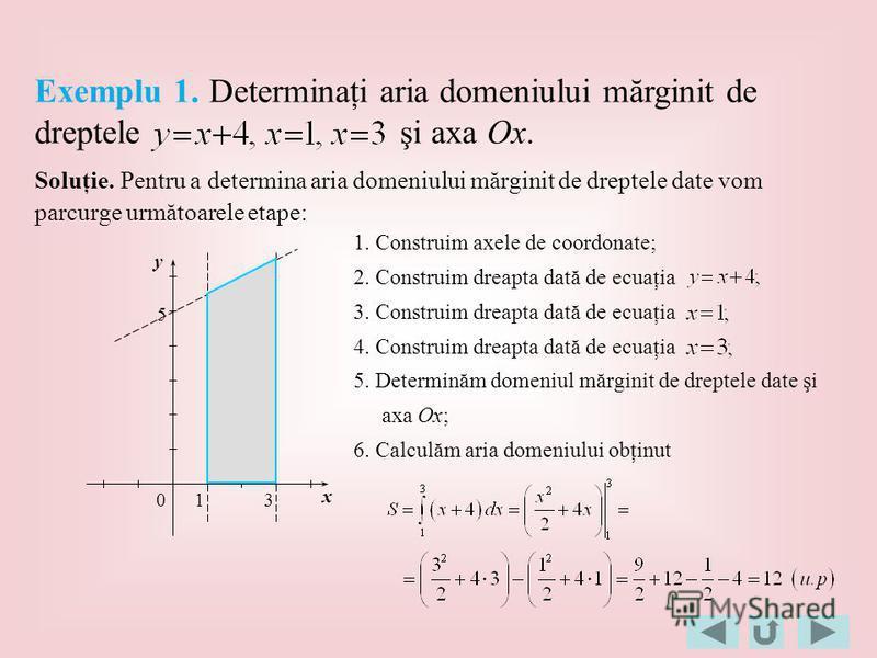 Soluţie. Pentru a determina aria domeniului mărginit de dreptele date vom parcurge următoarele etape: 1. Construim axele de coordonate; 2. Construim dreapta dată de ecuaţia 3. Construim dreapta dată de ecuaţia 5. Determinăm domeniul mărginit de drept