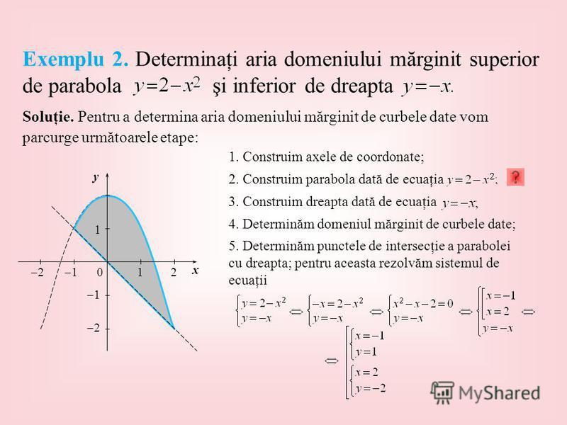 Soluţie. Pentru a determina aria domeniului mărginit de curbele date vom parcurge următoarele etape: 1 2 120 1 1 2 x y 1. Construim axele de coordonate; 2. Construim parabola dată de ecuaţia 3. Construim dreapta dată de ecuaţia 4. Determinăm domeniul