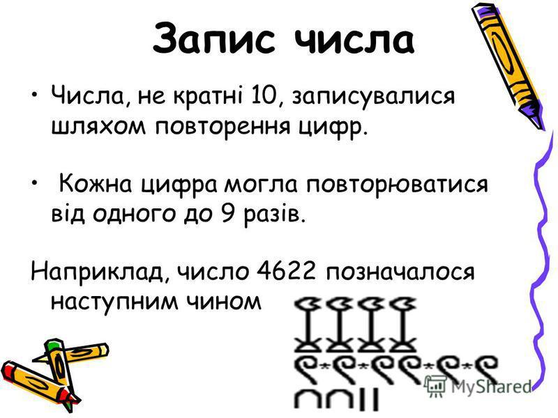 Числа, не кратні 10, записувалися шляхом повторення цифр. Кожна цифра могла повторюватися від одного до 9 разів. Наприклад, число 4622 позначалося наступним чином: Запис числа