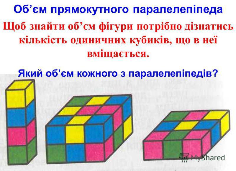 Обєм прямокутного паралелепіпеда Щоб знайти обєм фігури потрібно дізнатись кількість одиничних кубиків, що в неї вміщається. Який обєм кожного з паралелепіпедів?