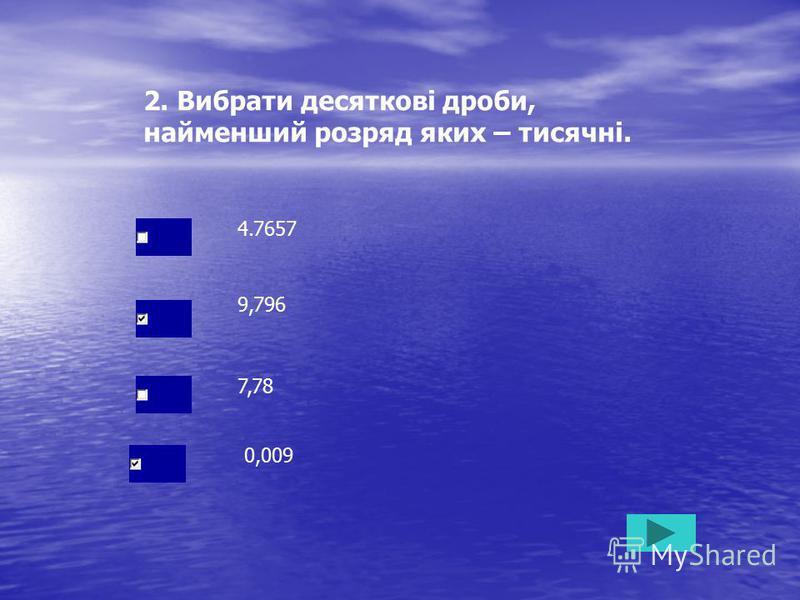 2. Вибрати десяткові дроби, найменший розряд яких – тисячні. 4.7657 7,78 0,009 9,796