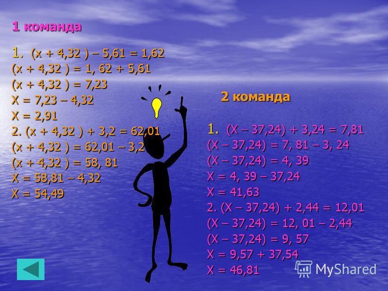 1 команда 2 команда 1. (Х – 37,24) + 3,24 = 7,81 (Х – 37,24) = 7, 81 – 3, 24 (Х – 37,24) = 4, 39 Х = 4, 39 – 37,24 Х = 41,63 2. (Х – 37,24) + 2,44 = 12,01 (Х – 37,24) = 12, 01 – 2,44 (Х – 37,24) = 9, 57 Х = 9,57 + 37,54 Х = 46,81 1. (х + 4,32 ) – 5,6