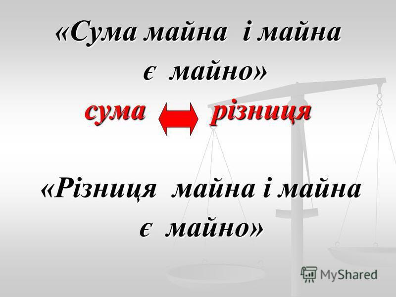 «Сума майна і майна є майно» є майно» сума різниця «Різниця майна і майна «Різниця майна і майна є майно» є майно»