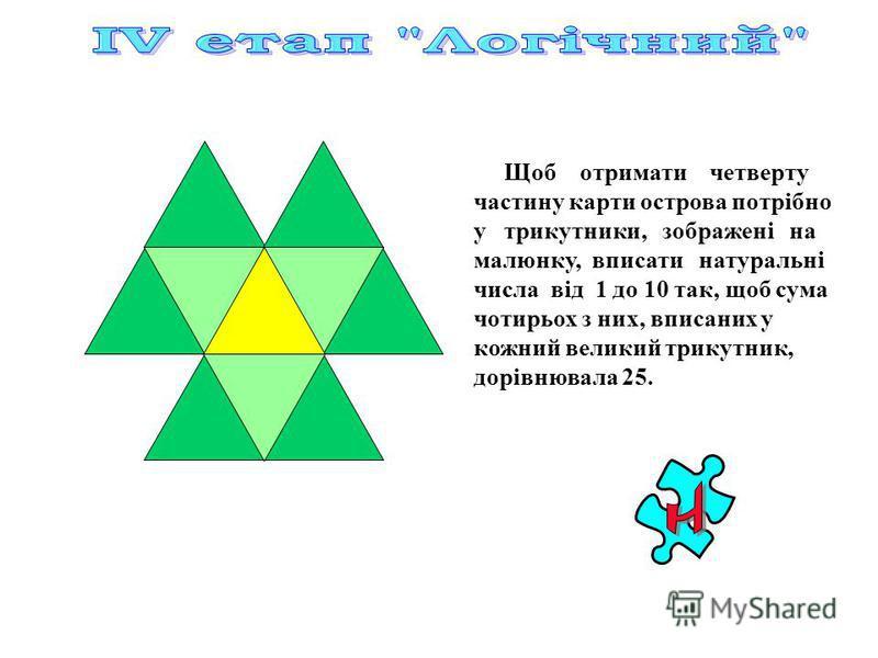 Щоб отримати четверту частину карти острова потрібно у трикутники, зображені на малюнку, вписати натуральні числа від 1 до 10 так, щоб сума чотирьох з них, вписаних у кожний великий трикутник, дорівнювала 25.