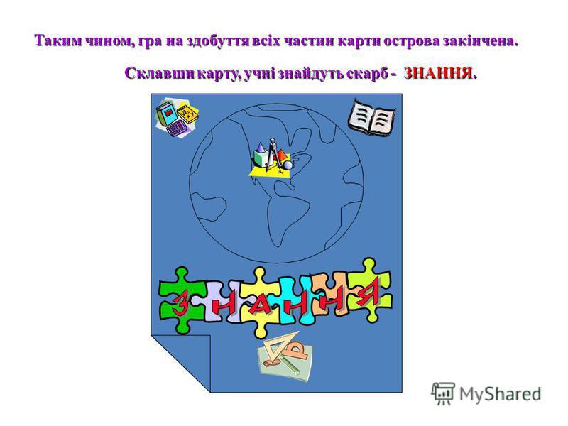 Таким чином, гра на здобуття всіх частин карти острова закінчена. Склавши карту, учні знайдуть скарб - ЗНАННЯ.