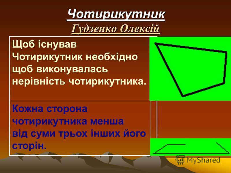 Чотирикутник Гудзенко Олексій Щоб існував Чотирикутник необхідно щоб виконувалась нерівність чотирикутника. Кожна сторона чотирикутника менша від суми трьох інших його сторін.