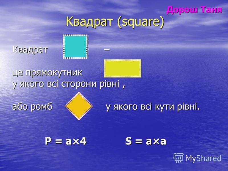 Дорош Таня Дорош Таня Kвадрат (square) Квадрат – це прямокутник у якого всі сторони рівні, або ромб у якого всі кути рівні. Р = а×4 S = а×а Р = а×4 S = а×а
