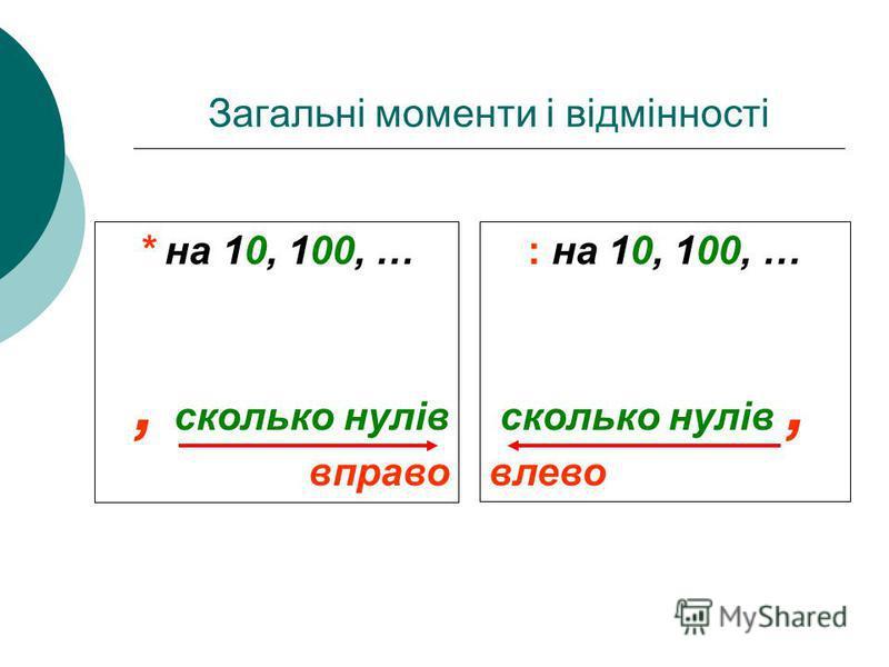 * на 10, 100, …, сколько нулей вправо : на 10, 100, … сколько нулей, влево Загальні моменти і відмінності * на 10, 100, …, сколько нулей вправо : на 10, 100, … сколько нулей, влево * на 10, 100, …, сколько нулів вправо : на 10, 100, … сколько нулів,