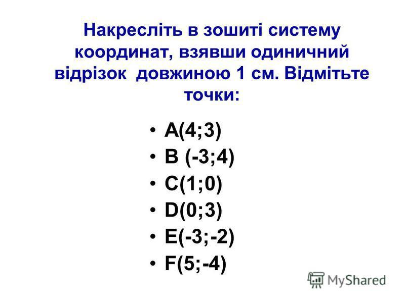Накресліть в зошиті систему координат, взявши одиничний відрізок довжиною 1 см. Відмітьте точки: А(4;3) В (-3;4) С(1;0) D(0;3) E(-3;-2) F(5;-4)