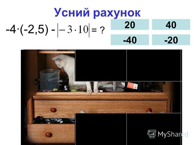 Усний рахунок -4(-2,5) - = ? 20 -40 40 -20