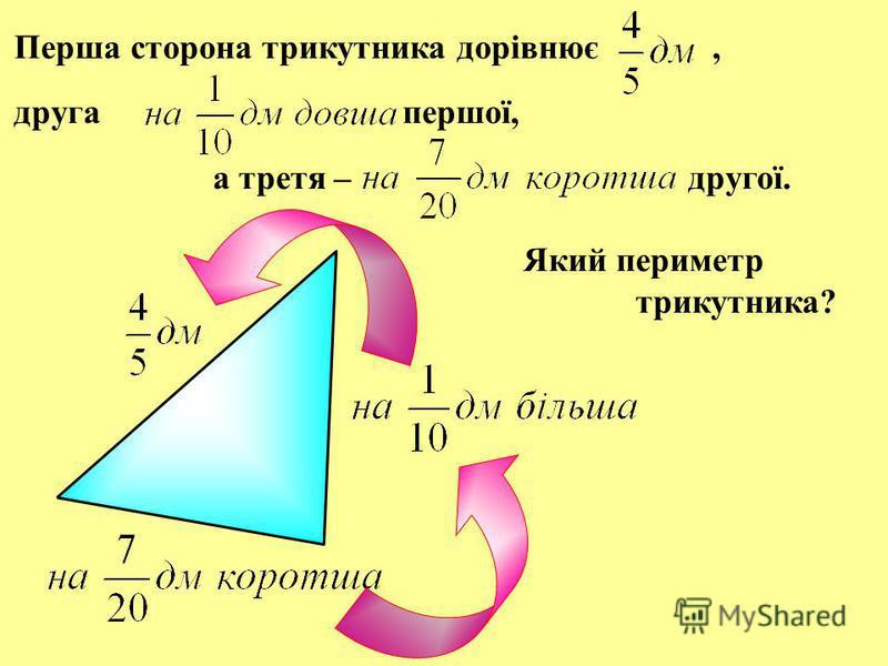 Перша сторона трикутника дорівнює, друга першої, а третя – другої. Який периметр трикутника?