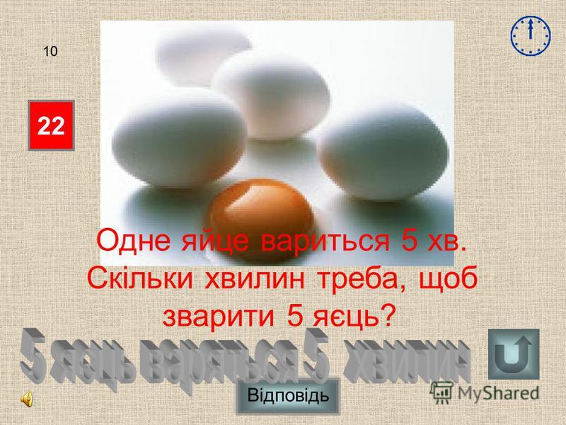 Відповідь 22 10 Одне яйце вариться 5 хв. Скільки хвилин треба, щоб зварити 5 яєць?