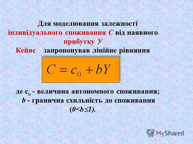 3 Для моделювання залежності індивідуального споживання С вiд наявного прибутку У Кейнс запропонував лінійне piвняння де с о - величина автономного споживання; b - гранична схильність до споживання (0<b 1).