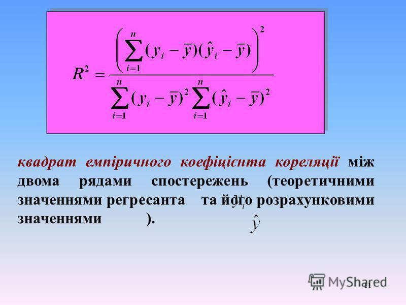 11 квадрат емпіричного коефіцієнта кореляції між двома рядами спостережень (теоретичними значеннями регресанта та його розрахунковими значеннями ).