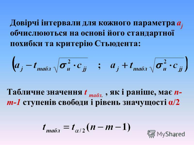 31 Довірчі інтервали для кожного параметра a j обчислюються на основі його стандартної похибки та критерію Стьюдента: Табличне значення t табл., як і раніше, має n- m-1 ступенів свободи і рівень значущості α/2