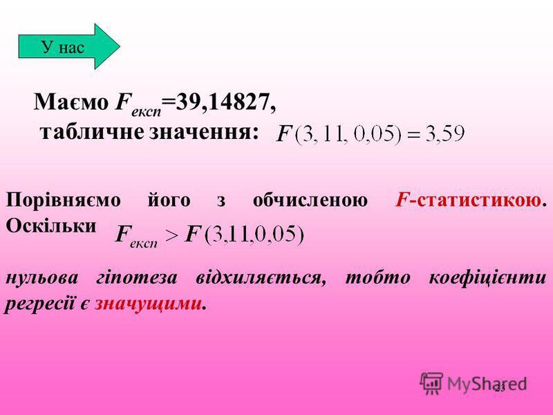 23 Маємо F експ =39,14827, табличне значення: У нас Порівняємо його з обчисленою F-статистикою. Оскільки нульова гіпотеза відхиляється, тобто коефіцієнти регресії є значущими.