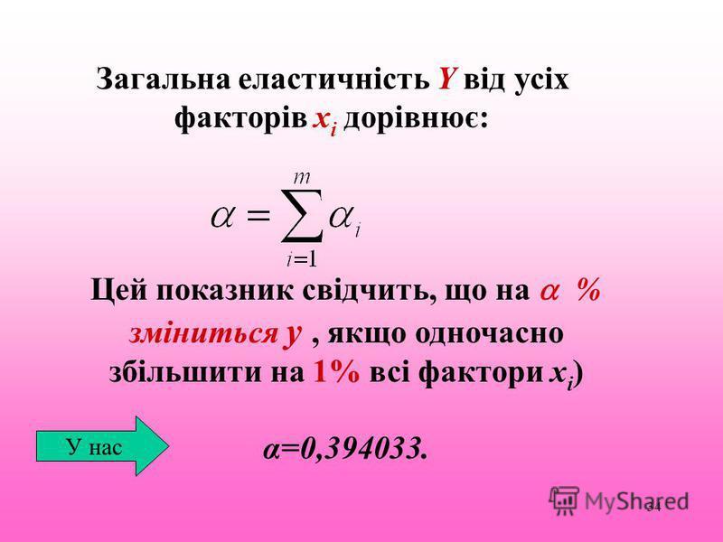 34 Загальна еластичність Y від усіх факторів х i дорівнює: Цей показник свідчить, що на % зміниться y, якщо одночасно збільшити на 1% всі фактори x i ) α=0,394033. У нас