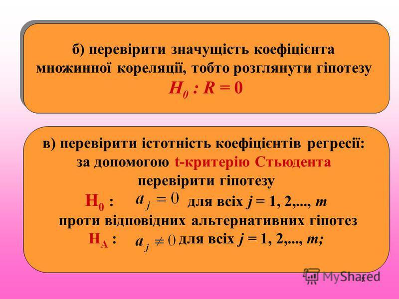 8 б) перевірити значущість коефіцієнта множинної кореляції, тобто розглянути гіпотезу Н 0 : R = 0 б) перевірити значущість коефіцієнта множинної кореляції, тобто розглянути гіпотезу Н 0 : R = 0 в) перевірити істотність коефіцієнтів регресії: за допом
