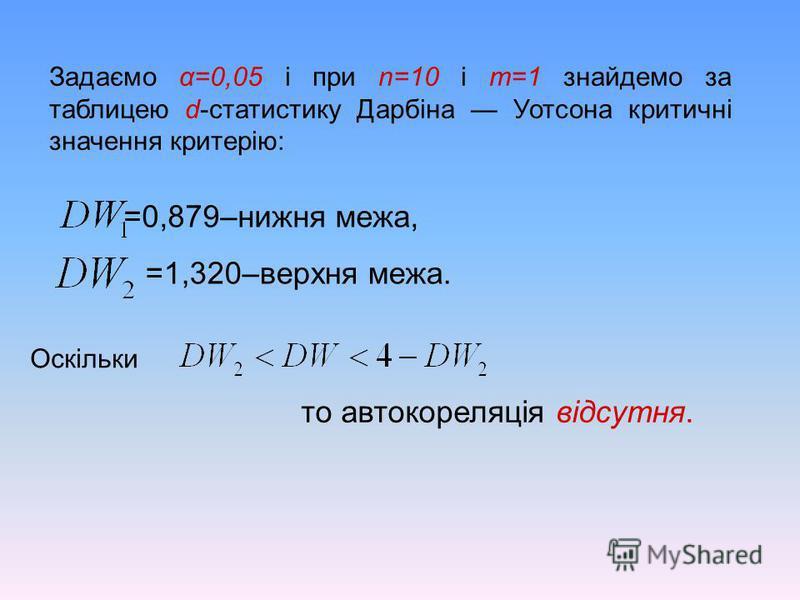 Задаємо α=0,05 і при n=10 і m=1 знайдемо за таблицею d-статистику Дарбіна Уотсона критичні значення критерію: =0,879–нижня межа, =1,320–верхня межа. то автокореляція відсутня. Оскільки